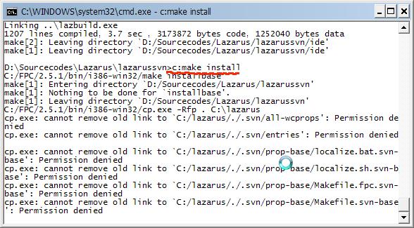 คำสั่ง make install สำหรับ lazarus svn