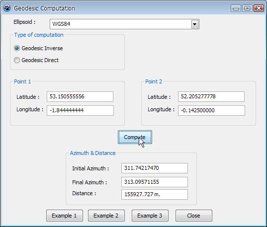 โปรแกรมคำนวณหาระยะทางและอะซิมัทบน Ellipsoid รันด้วย Windows