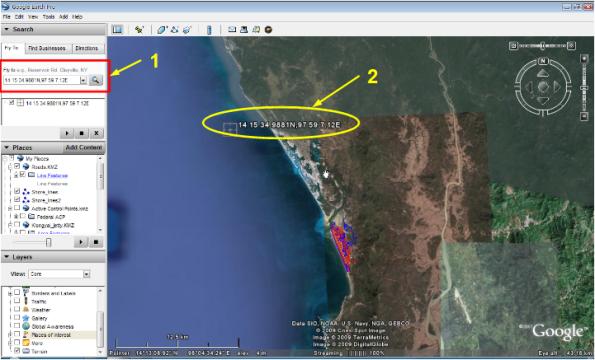 ผลลัพธ์ของการจุดค่าพิกัดบน Google Earth